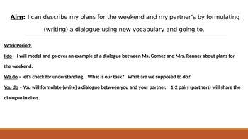 IR Weekend plans lesson plan