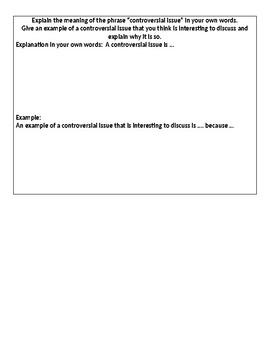IR What is a Contoversial Issue Worksheet