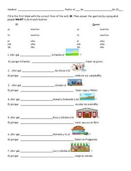 IR and Querer worksheet