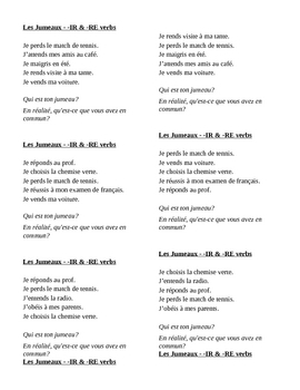 IR and RE verbs in French Jumeaux Speaking activity
