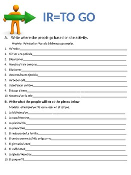IR interactive notebook pages including the near future with city vocabulary