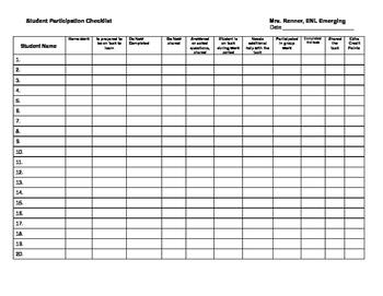 IR student participation checkslist