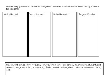 IR verb sorting activitity