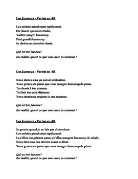 IR verbs in French Jumeaux Speaking activity