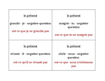 IR verbs in French Question Question Pass activity