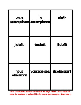 IR Verbs in French Verbes IR Present tense Spoons game / Uno game