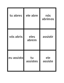 Verbos em IR (IR verbs in Portuguese) Present tense Spoons game / Uno game