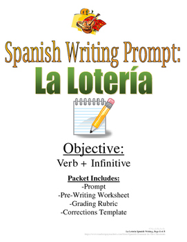 IR with Infinitives Spanish Writing Prompt: La Loteria