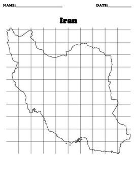IRAN Coordinate Grid Map Blank