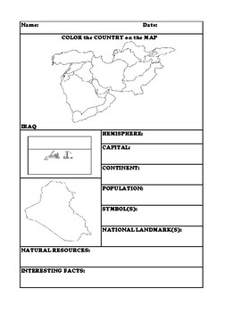 IRAQ COUNTRY RESEARCH WORKSHEET