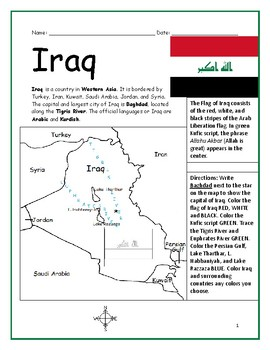 IRAQ - Printable handout with map and flag