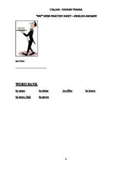 "Italian Made Simple: ""IRE"" Verb Worksheet - English Translation"