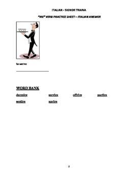 """Italian Made Simple: """"IRE"""" Verb Worksheet - Italian Translation"""