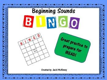 IREAD Practice Same Beginning Sounds Bingo Game