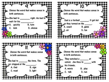 IREAD Practice Vocabulary and Word Analysis Task Cards