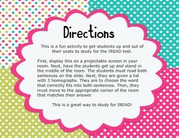IREAD Classroom Interactive Practice (4 Corners Game) Homographs