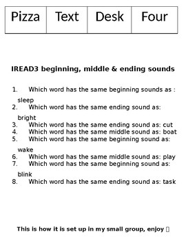 IREAD3 Practice for Beginning, Middle and End Sounds