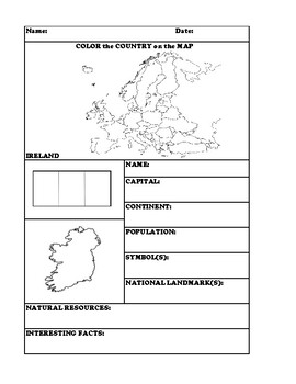 IRELAND COUNTRY RESEARCH WORKSHEET