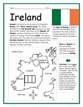 graphic about Flag of Ireland Printable titled Eire - Printable handout with map and flag