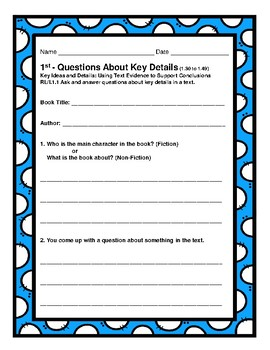 1st Gr. 1.30-1.49 CCSS Comp. Assignments (Aligned to American Reading Co IRLA)