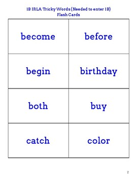 IRLA 1B Tricky Words Flash Cards
