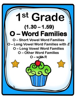 1st Grade 1.30-1.59 O-Word Families Cards (Aligned to American Reading Co IRLA)