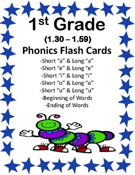 1st Grade 1.30-1.59 Phonics Flash Cards (Aligned to American Reading Co IRLA)