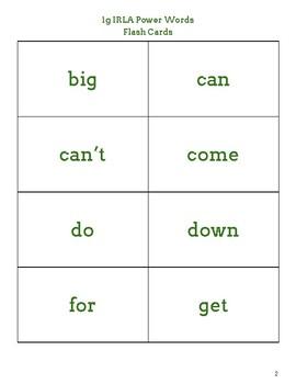 IRLA 1G Power Words Flash Cards