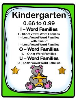 Kinder. 0.66-0.99 I, O, & U-Word Families Cards Aligned to