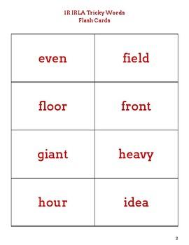 IRLA 1R Tricky Words Flash Cards