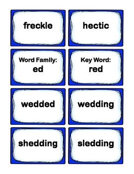 1st Grade 1.60-1.99  E-Word Families Cards (Aligned to American Reading Co IRLA)