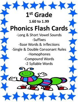 1st Grade 1.60-1.99 Phonics Flash Cards (Aligned to Americ