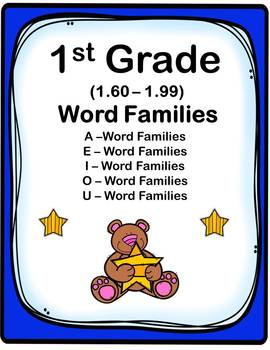 1st Grade 1.60-1.99 Word Families Cards (Correlated to American Reading Co IRLA)