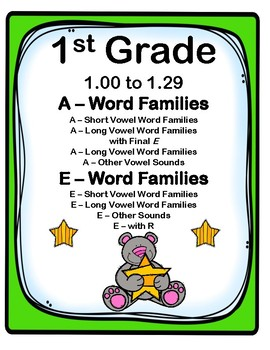 1st Grade 1.00-1.29 A & E-Word Families Aligned to America