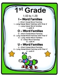 1st Grade 1.00-1.29  I, O, & U-Word Families Aligned to American Reading Co IRLA