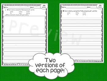Sight Word Writing Papers ~Aligned with IRLA's 2G Power Words from ARC~