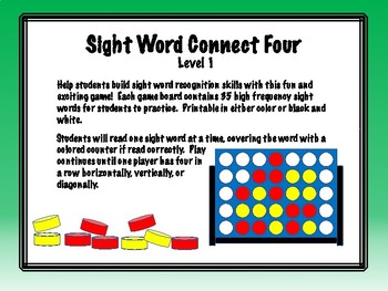 IRLA Aligned Connect Four Sight Word Recognition Game - Level 1
