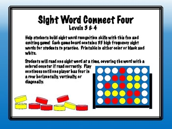 IRLA Aligned Connect Four Sight Word Recognition Game - Levels 3 & 4
