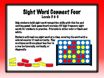 IRLA Aligned Connect Four Sight Word Recognition Game - Levels 5 & 6
