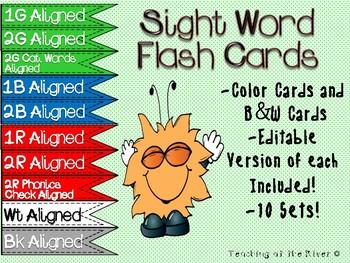 IRLA Aligned Power Sight Words Flash Cards Bundle w/ Editable Files