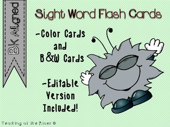 "IRLA Aligned ""Bk"" Sight Words Flash Cards w/ Editable File"