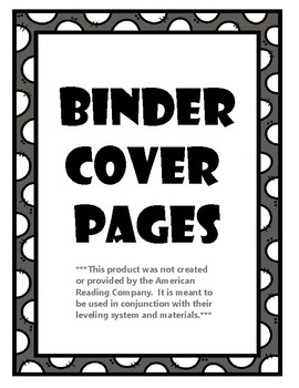 Binder Cover Pages to use in Conjunction with American Reading Company Materials