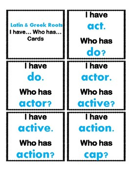 4th Grade Latin & Greek I Have/Who Has Cards Aligned to American Reading Co IRLA
