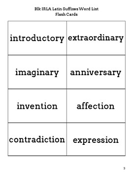 IRLA Blk Latin Suffixes Flash Cards
