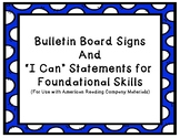 "IRLA - Blue ""I Can"" Statements for Foundational Skills"