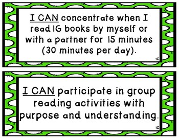 """Kindergarten-1st Grade """"I Can"""" Statements Aligned to  American Reading Co IRLA"""