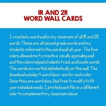 IRLA Gr2 Word Wall 1R and 2R Tricky Words