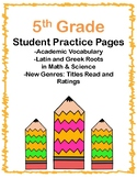 5th Grade Student Practice Pages (Alilgned to American Reading Co IRLA)