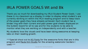 IRLA Power Goal Student Pack Wt and Bl levels