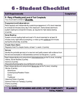 6th Grade CCSS Student Checklists (Correlated to American Reading Company IRLA)